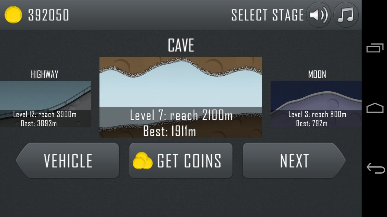 Выбор уровня в Hill Climb Racing