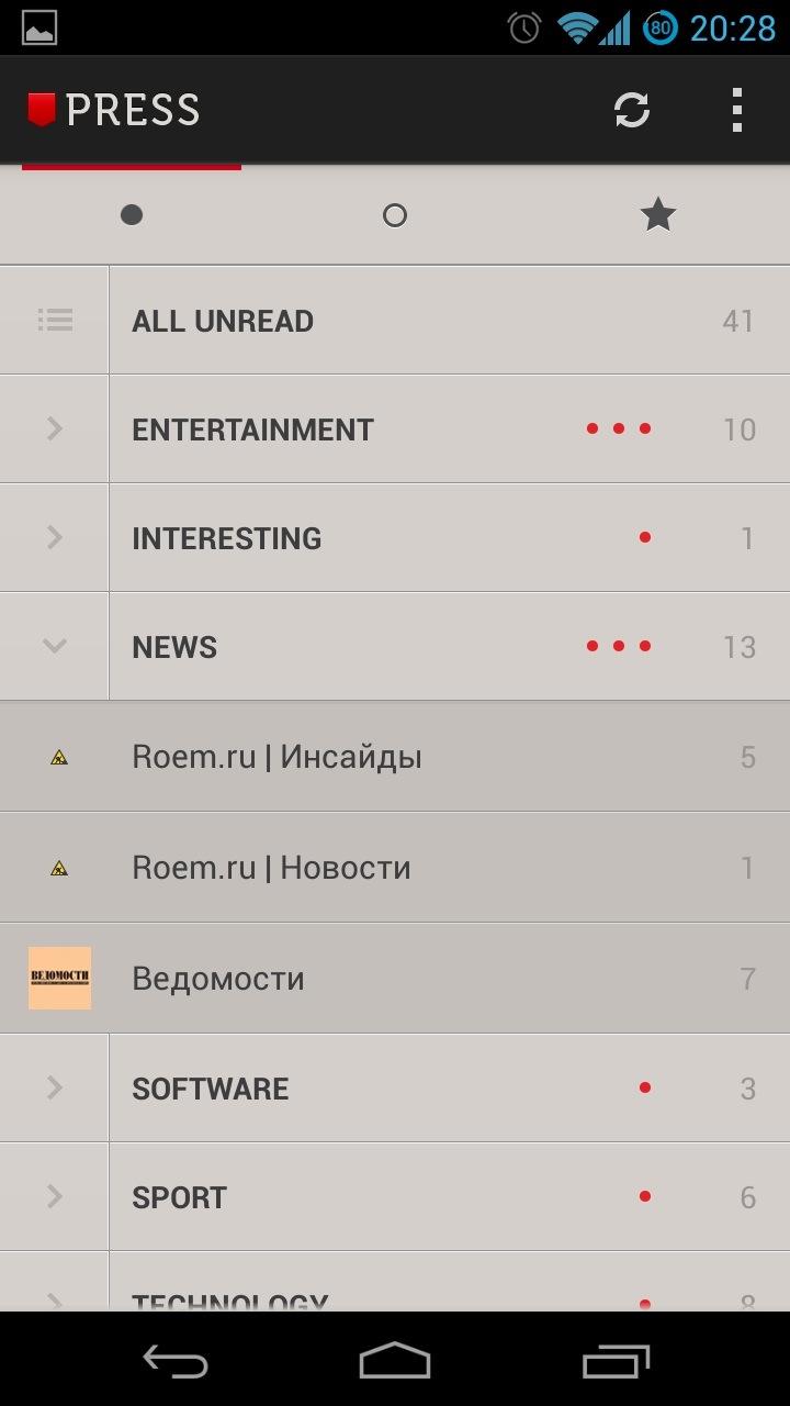 Список новостных каналов в Press